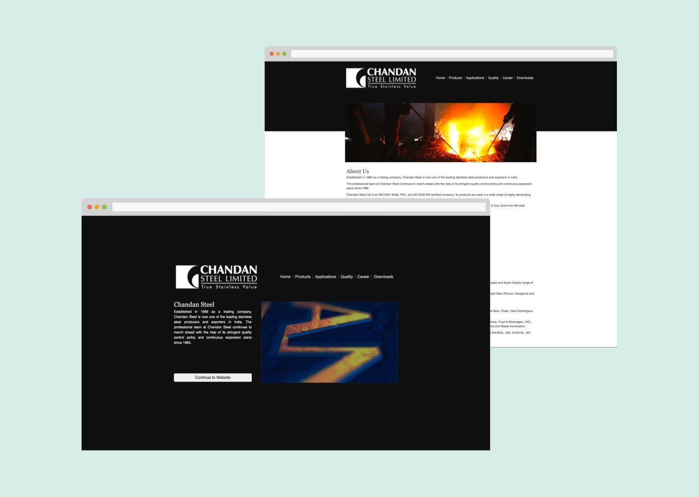Chandan Steels Old Website Re-design